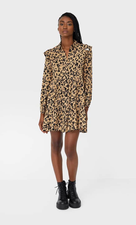 Платье-Рубашка С Воланом Женская Коллекция Бежевый S