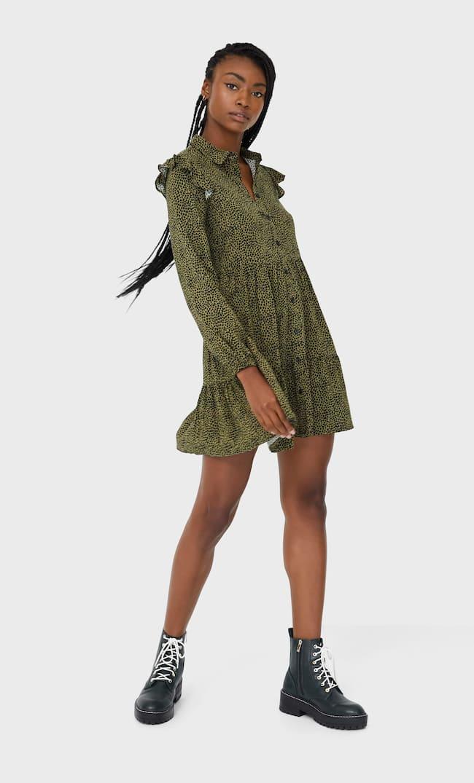 Платье-Рубашка С Воланом Женская Коллекция Multicolor M