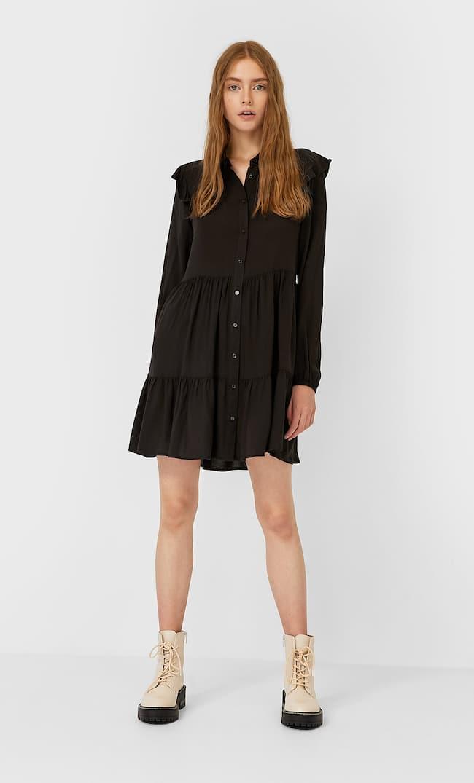 Платье С Рубашечным Воротником И Воланами Женская Коллекция Черный S