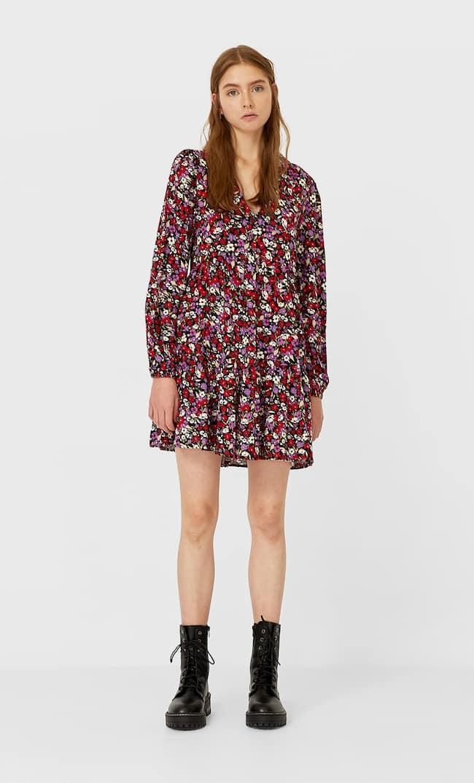 Платье С Рубашечным Воротником Женская Коллекция Черный L