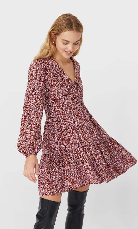 Платье С Рубашечным Воротником Женская Коллекция Цвет Темной Верблюжьей Шерсти M