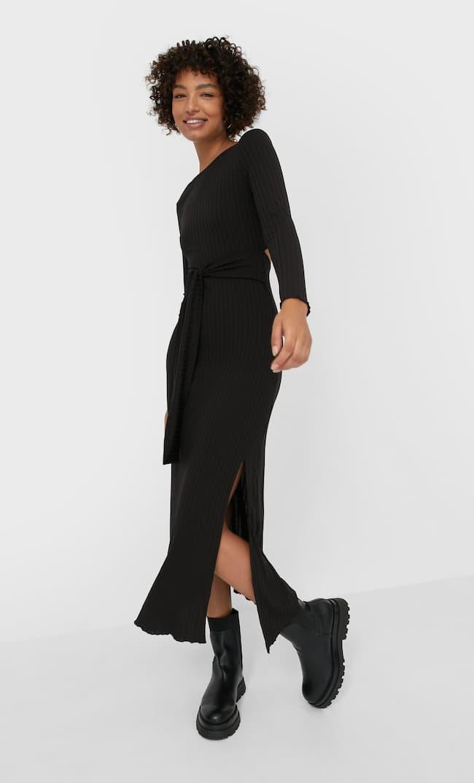 Платье Миди С Разрезом Сзади Женская Коллекция Черный L