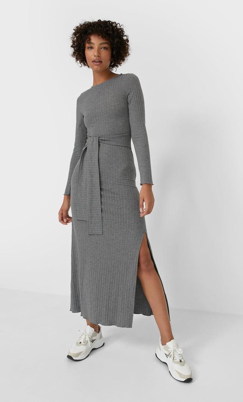 Платье Миди С Разрезом Сзади Женская Коллекция Темно-Серый L