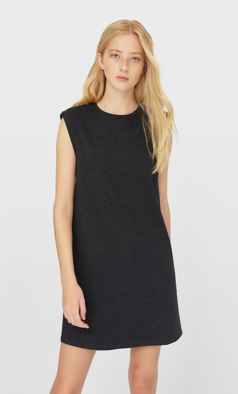 Короткое Платье С Подплечниками Женская Коллекция Темно-Серый S