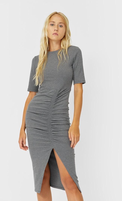 Платье Миди В Тонкий Рубчик Женская Коллекция Темно-Серый S