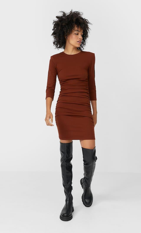 Короткое Платье Со Сборкой Женская Коллекция Multicolor L