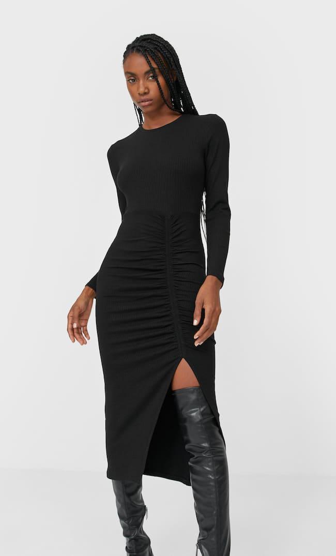 Платье Миди Со Сборкой Женская Коллекция Черный S