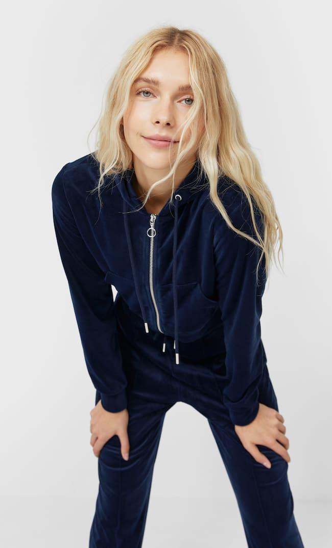 Soft-Touch Cropped Sweatshirt Женская Коллекция Морской Синий L