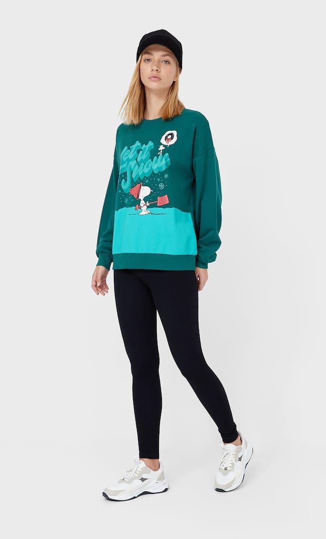 Толстовка С Новогодним Принтом «Снупи» Женская Коллекция Зеленый S