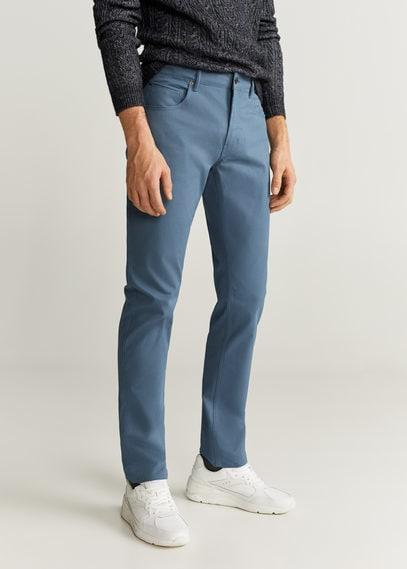 Брюки в стиле джинсов slim fit из саржи - Pisa6