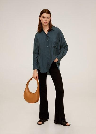 Рубашка из купро с карманом - Gretita