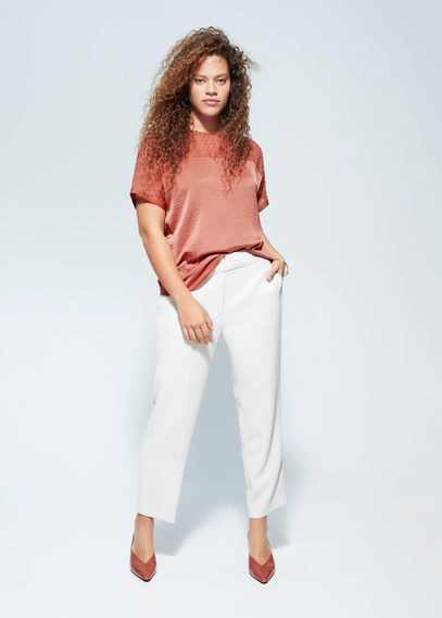 Полупрозрачная комбинированная блузка в крапинку - Plumeti