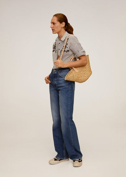 Рубашка в полоску с цветочной вышивкой - Embro-a