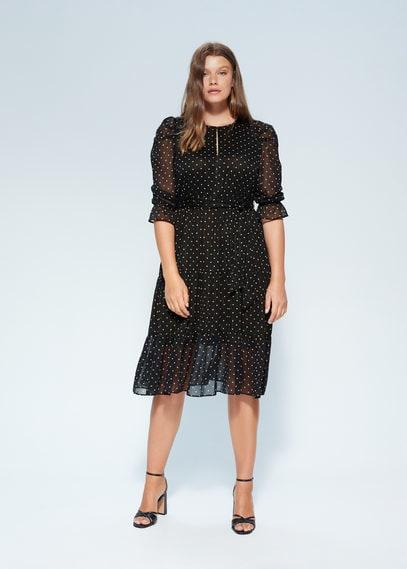Платье в горошек, с широкой юбкой - Hedi