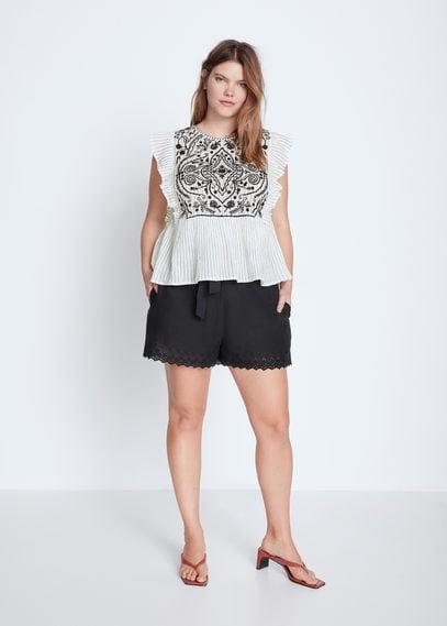 Блузка с вышивкой и воланами - Blacky