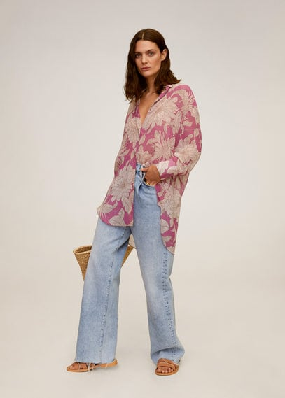 Рубашка с цветочным принтом - Tuku