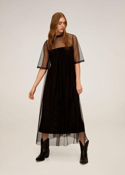 Платье из полупрозрачной ткани в крапинку - Annie-a