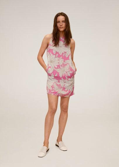 Платье с принтованными цветами - Tuku