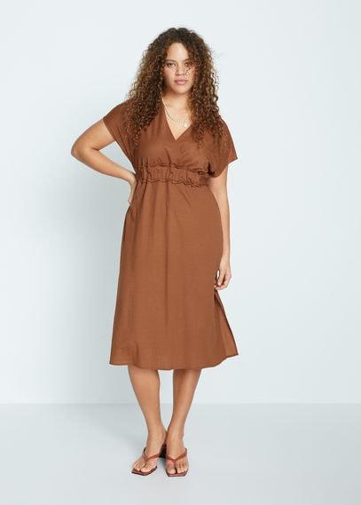 Миди-платье с поясом - Brandy