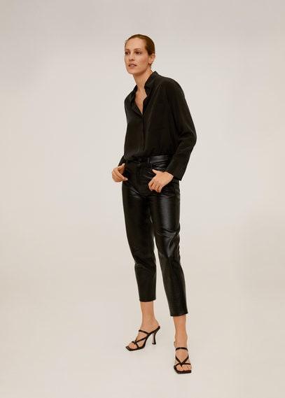 Фактурные укороченные брюки - Croco