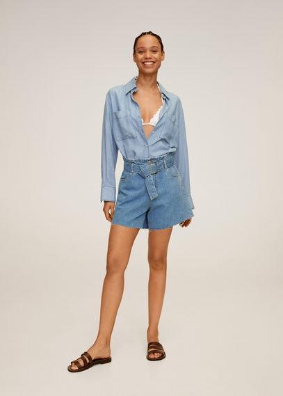 Джинсовые шорты с поясом - Soft