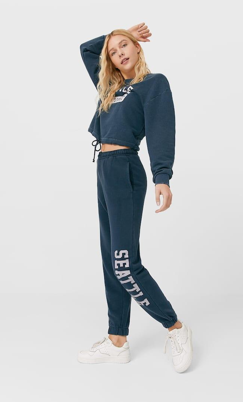 Acid Wash Cropped Sweatshirt Женская Коллекция Морской Синий S