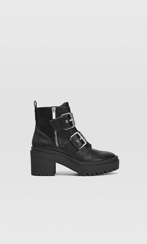 Ботинки С Пряжками На Рифленой Подошве Женская Коллекция Черный 41