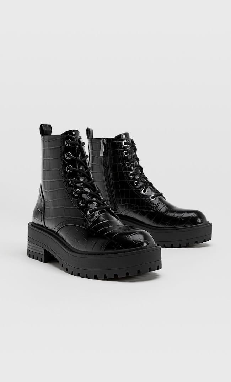 Ботинки В Байкерском Стиле С Тиснением И Шнуровкой Женская Коллекция Черный 41