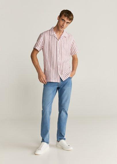 Рубашка regular fit 100% лен в полоску - Hawair