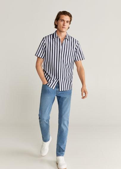 Хлопковая рубашка regular fit в полоску - Traca