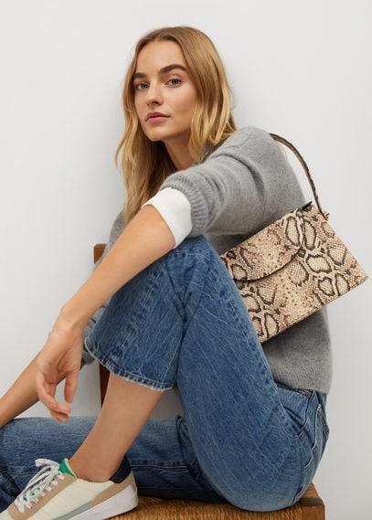 Жесткая сумка с эффектом змеиной кожи - Boxy