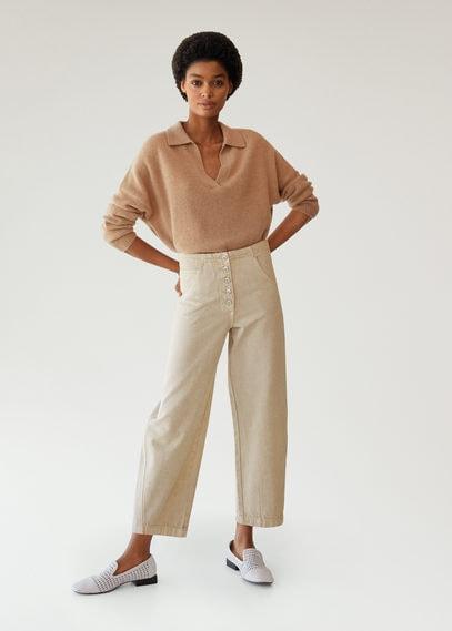 Прямые джинсы с пуговицами - Buttons