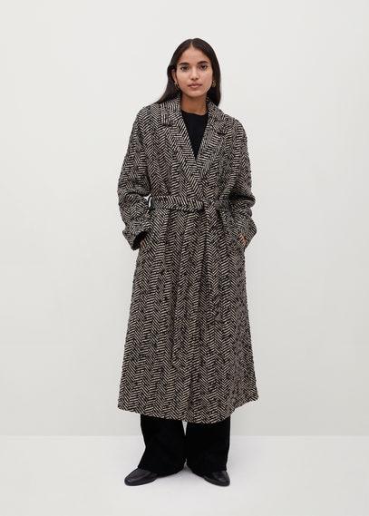 Двубортное пальто с фактурной выделкой - Fox