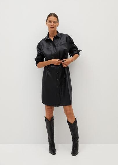 Платье-рубашка из искусственной кожи - Brown