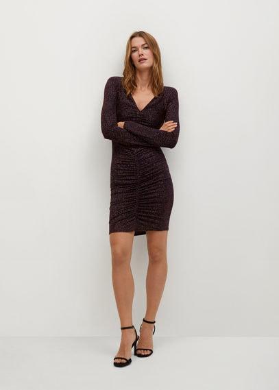 Блестящее платье с драпировкой - Tyra