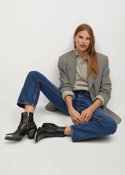 Кожаные ботинки с квадратным мысом - Girls