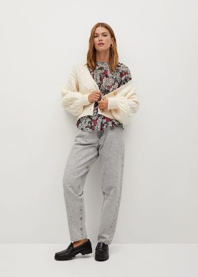Плиссированная блузка с принтом - Julia