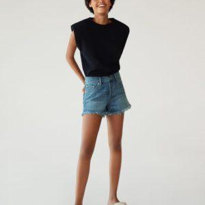 Джинсовые шорты с бахромой по низу - Hailey