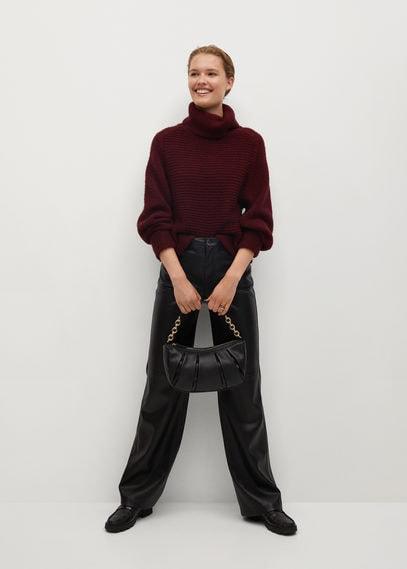 Объемный свитер с воротником с отворотом - Niza