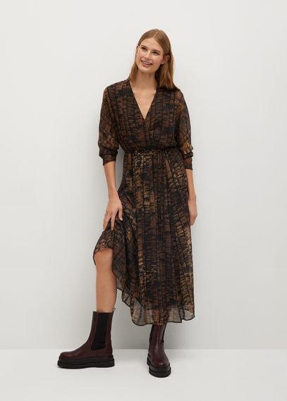 Принтованное платье с плиссировкой - Congo