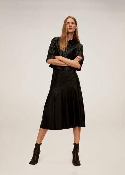 Плиссированная юбка из искусственной кожи - Sofia-i
