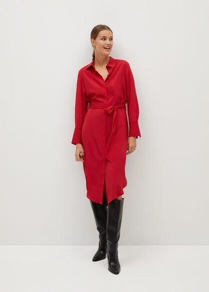 Платье-рубашка с поясом - Basic