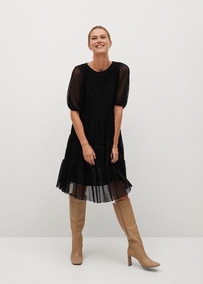 Фактурное платье с воланами - Belma