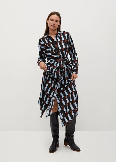 Принтованное платье с поясом - Full