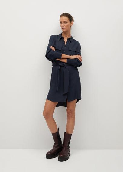 Платье-рубашка с ремешком - Lemon
