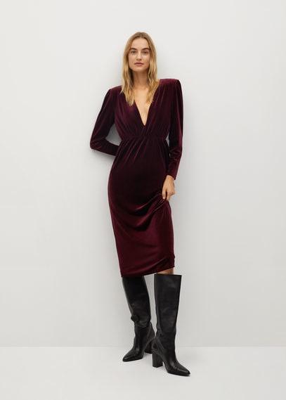 Бархатное платье с подплечниками - Figue-i