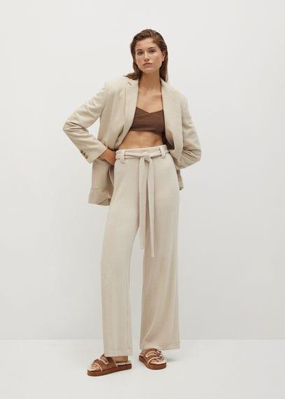 Прямые брюки с ремешком - Palazzo