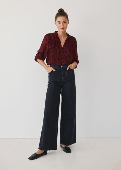 Плиссированная блузка с принтом - Pliti