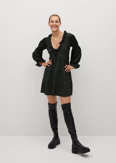 Платье с присборенными рукавами - Lala