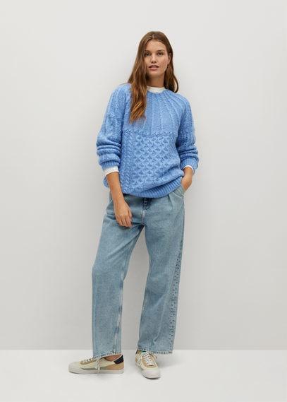 Джемпер комбинированной вязки - Handia